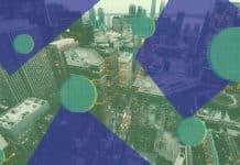 Geometric shapes layered on city backdrop