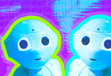 "Two identical robots on a purple background with the text ""digital twin"""