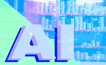 "The text ""AI"" and a background image of packages on shelves"
