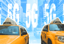 "Two taxi cabs and the text ""5G"""