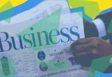 """Business"" Newspaper with geometric shapes overlaying it"