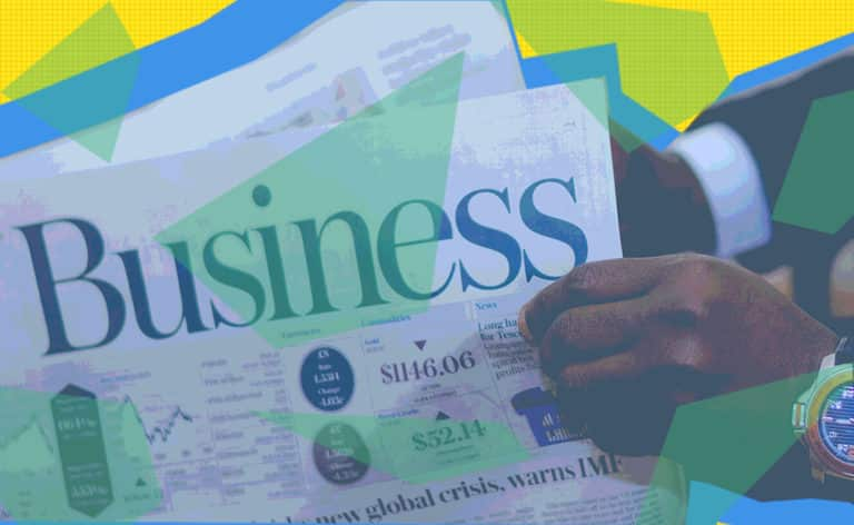 """""""Business"""" Newspaper with geometric shapes overlaying it"""