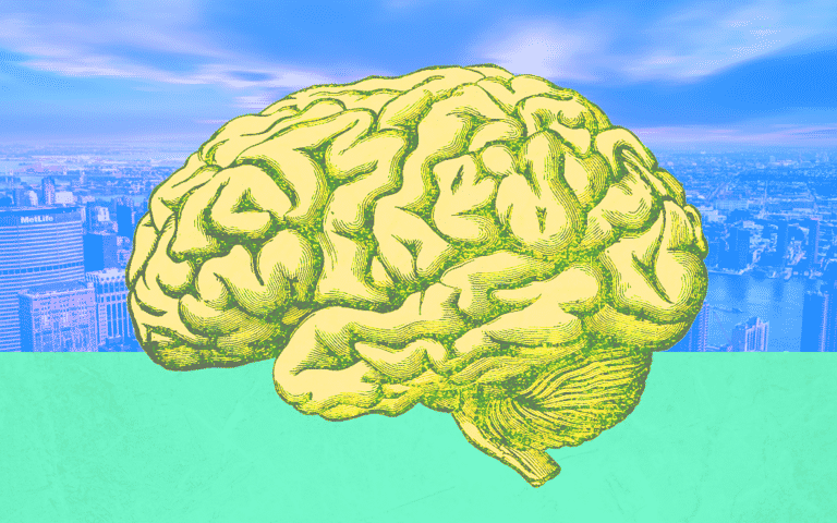 Cartoon of a brain and a city in the background
