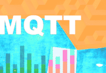 The text MQTT on an abstract background