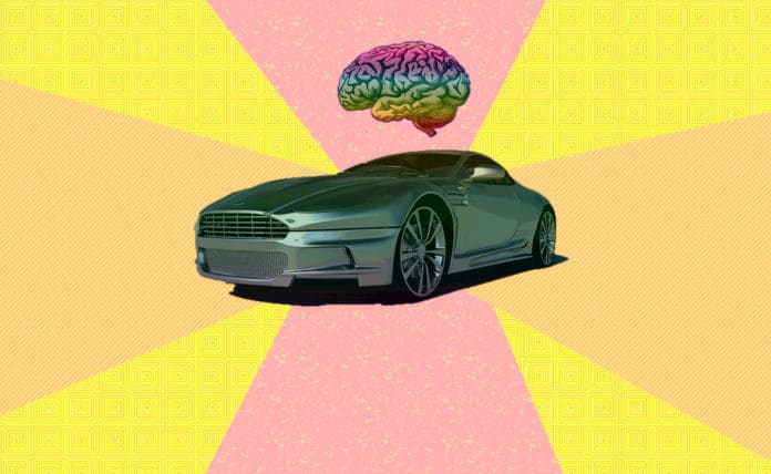 Modern car with a brain floating above