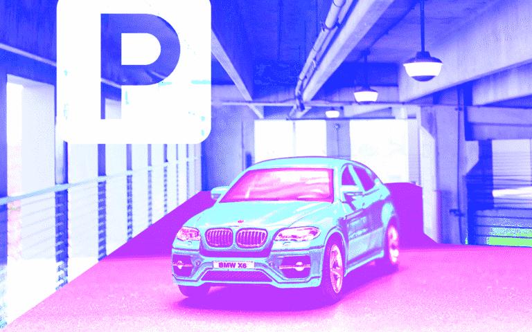 A car in a parking garage