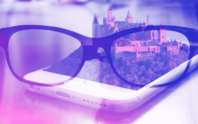 A pair of glasses and an iphone with an AR image of a castle emerging from it