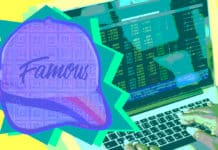 """""""Famous"""" hat overlaying computer"""