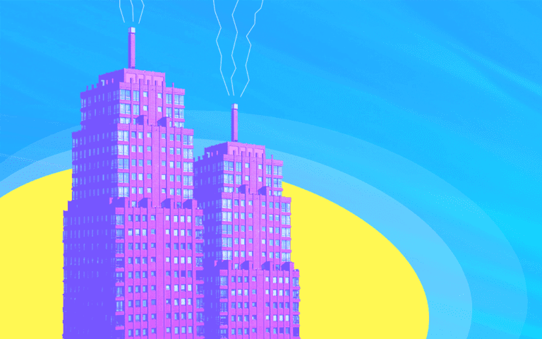Two buildings on a colorful background