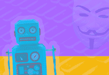 A robot on a colorful background