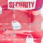 "A camouflage background with locks and the text ""Security"""