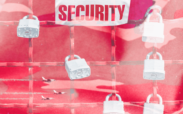 """A camouflage background with locks and the text """"Security"""""""