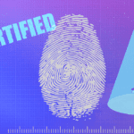 "A person using an iphone, a fingerprint, and the text ""Certified"""