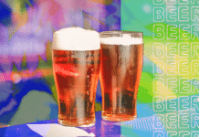 Two beers on a bright background