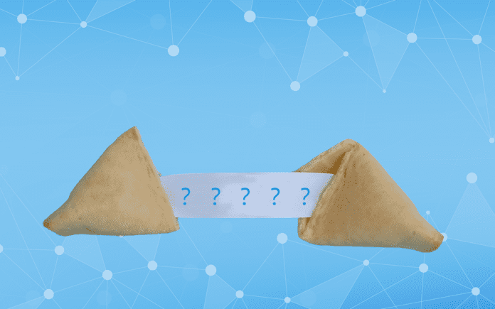 A fortune cookie on a blue background