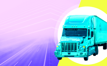 A truck on a colorful background