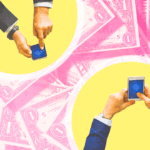 Two people holding phones on a pink background of cash