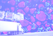 A truck on a background of strawberries and ice cubes