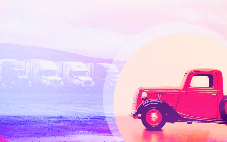 A truck on a purple background