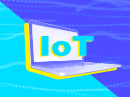 """A colorful image of a laptop with the text """"IoT"""""""