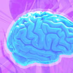 A brain on a colorful background