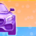 A car on a colorful background