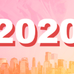 The text 2020 and the backdrop of a skyline