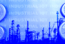 "The text ""Industrial IOT"" on a blue background"