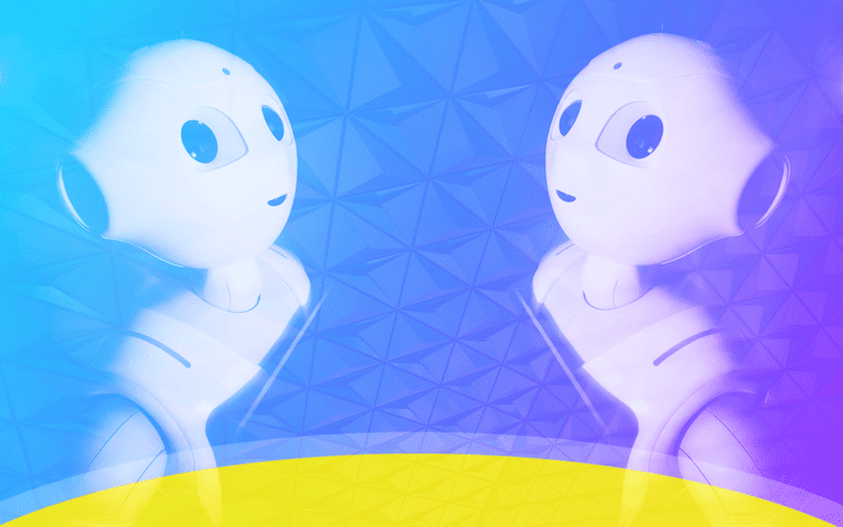 Robot twins on a colorful background