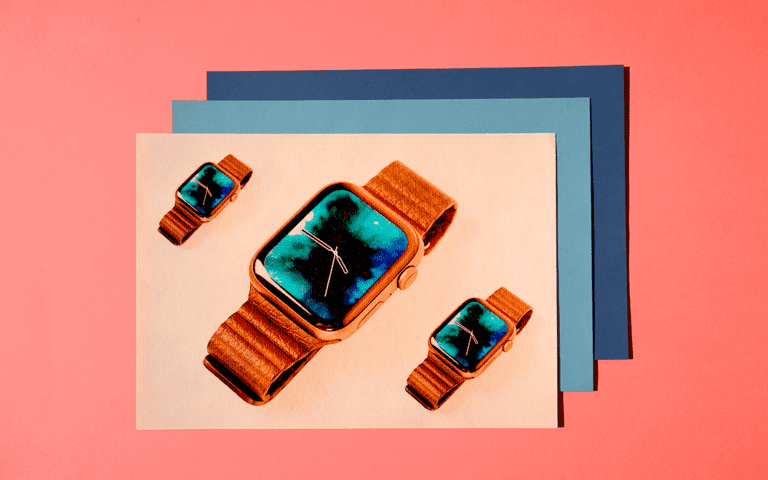 A smart watch on a colorful background