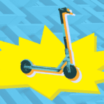 A scooter on a colorful background