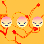 Three angry emojis on a background of colorful wires