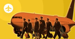 airline crew in front of airplane