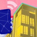 smart phone pointed at apartment building