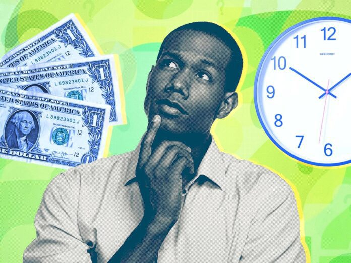 man considering cost and time